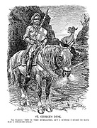 """St. George's Dusk. The Champion. """"This is very humiliating, but I suppose I ought to have had a stronger spear."""" (St. George's Sanctions lance is broken and his horse tired, as the dragon of Aggression approaches around the corner)"""