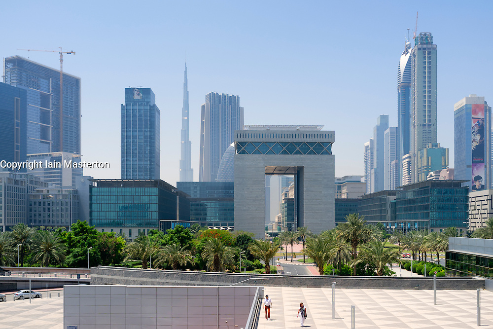 View of Central Business District in Dubai United Arab Emirates UAE