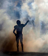Denver Broncos strong safety T.J. Ward (43) during player introductions prior to an NFL football game against the New England Patriots, Sunday, Dec. 18, 2016, in Denver. The Patriots defeated the Broncos, 16-3. (Ryan Kang via AP)