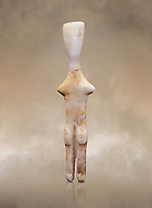 Abstract Cycladic figurine , Louris type, from Naxos, 2800-2500 BC, Museum of Cycladic Art Athens, <br /> <br /> The figurine has no facial features and is of no determinable sex. The figureine is of the Louros typle, named after a site in Naxos and with stuby arms is considered to be an abstract development of the Plastiras type, of which it retains such traits and naturalistically separated legs and horizontal feet. The arms have been reduced to two protuberances at shoulder level and all anitomical features have virtually disappeared.