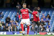 Sead Kolasinac of Arsenal  warms up ahead of the game.  Premier league match, Chelsea v Arsenal at Stamford Bridge in London on Sunday 17th September 2017.<br /> pic by Kieran Clarke, Andrew Orchard sports photography.