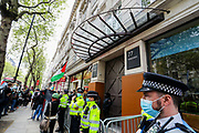 """London, United Kingdom, May 11, 2021: Following the killing of at least 24 Palestinians in Israeli air raids on the besieged Gaza Strip Pro-Palestinian demonstrators are gathered outside an Israeli international defence electronics company """"Elbit System"""" in central London on Tuesday, May 11, 2021 to protests against Israeli atrocities. Demonstrators also continue to show their opposition against planned evictions of Palestinian families in the Sheikh Jarrah neighbourhood of East Jerusalem. This is the second week of ongoing protests to be held across England. (Photo/ Vudi Xhymshiti)"""