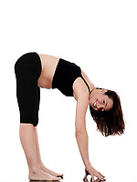 pregnant caucasian woman exercise stretching workout isolated studio on white background