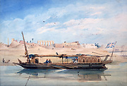 A Kanja on the Nile at Luxor, with the Temple of Luxor behind', 1838-1843. Watercolour. Achille-Constant Prisse d'Avennes (1807-1809) French architect.  Egypt River Boat Oars