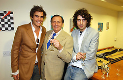 Left to right, OSCAR HUMPHRIES, BARRY HUMPHRIES and RUPERT HUMPHRIES at an exhibition of art by Oscar Humphries entitles 'Post-Nuclear Family' held at Nutters, Lower Ground, 12 Savile Row, London on 8th June 2006.<br /><br />NON EXCLUSIVE - WORLD RIGHTS
