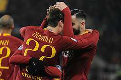 December 26, 2018 - Rome, Italy - Nicolo' Zaniolo with Kostas Manolas of AS Roma celebrates after scoring the team's third goal during the Serie A match between AS Roma and US Sassuolo at Stadio Olimpico on December 26, 2018 in Rome, Italy. (Credit Image: © Federica Roselli/NurPhoto via ZUMA Press)