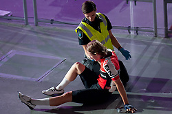 February 8, 2019 - Melbourne, VIC, U.S. - MELBOURNE, VIC - FEBRUARY 08: Joshua Heather is given medical assistance after crashing into the barriers during the 40km Talent Cup Madison Race at The Six Day Cycling Series on February 08, 2019 at Melbourne Arena, VIC. (Photo by Speed Media/Icon Sportswire) (Credit Image: © Speed Media/Icon SMI via ZUMA Press)