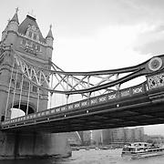 Tower Bridge And Tour Boat - London - Black & White