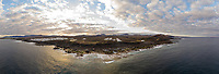 Panoramic aerial view of Tinajo village in Canary island archipelago, Spain.