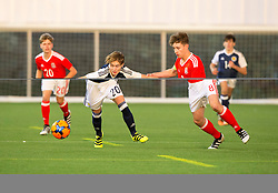 Scotland's Harry Cochrane and Wales Terry Taylor. half time : Scotland 2 v 0 Wales, Under 16 Victory Shield, Oriam 1/11/2016.