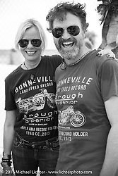 Paul D'Orleans and Susan McLaughlin at the Daytona Speedway on Thursday before the Friday start of the Motorcycle Cannonball Cross-Country Endurance Run. Daytona Beach, FL, USA. September 4, 2014.  Photography ©2014 Michael Lichter.