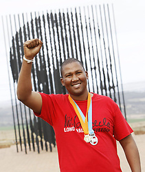 Howick 260812:<br /> Mandla Mandela at the end of the Mandela Marathon at the monument erected where Nelson Mandela was arrested.<br /> Picture: Shelley Kjonstad