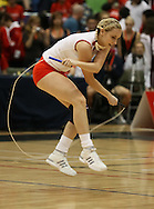 Loughborough, England - Saturday 31 July 2010: An English competitor in action during the World Rope Skipping Championships held at Loughborough University, England. The championships run over 7 days and comprise junior categories for 12-14 year olds in the World Youth Tournament, 15-17 year olds male and female championships, and any age open championships. In the team competitions, 6 events are judged, the Single Rope Speed, Double Dutch Speed Relay, Single Rope Pair Freestyle, Single Rope Team Freestyle, Double Dutch Single Freestyle and Double Dutch Pair Freestyle. For more information check www.rs2010.org. Picture by Andrew Tobin/Picture It Now.
