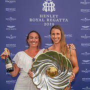 Olivia Loe (L) & Brooke Donoghue , New Zealand elite  Womens Double Scull <br /> <br /> Finals racing day at the Henley Royal Regatta on The Thames river, Henley on Thames, England. Sunday 7 July 2019. © Copyright photo Steve McArthur / www.photosport.nz