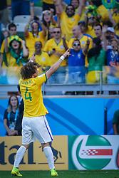 David Luiz comemora gol na partida entre Brasil x Chile, válida pelas oitavas de final da Copa do Mundo 2014, no Estádio Mineirão, em Belo Horizonte. FOTO: Jefferson Bernardes/ Agência Preview