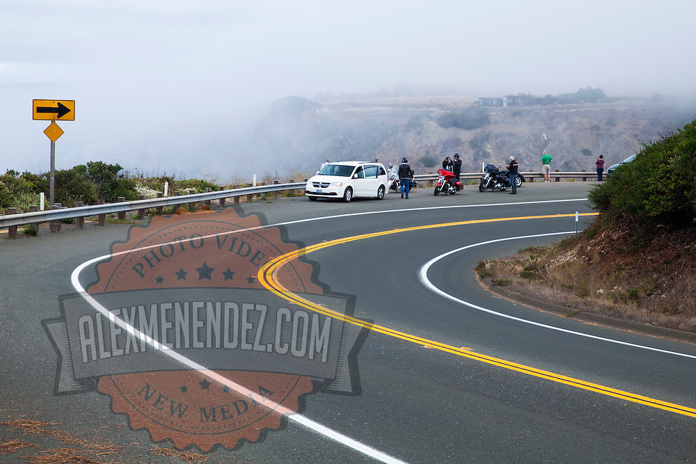 A view of motorcyclists as they view the Pacific ocean on Highway 1, on September 10, 2013. (AP Photo/Alex Menendez)