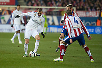 Atletico de Madrid's Griezmann and Mario Suarez and Real Madrid's Karim Benzema during 2014-15 Spanish King Cup match at Vicente Calderon stadium in Madrid, Spain. January 07, 2015. (ALTERPHOTOS/Luis Fernandez)