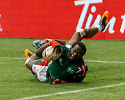 VANCOUVER, BC - MARCH 11: Oscar Ouma (#3) of Kenya scores to seal the game win at the end Game # 40- United States vs Kenya Cup SF 2 match at the Canada Sevens held March 10-11, 2018 in BC Place Stadium in Vancouver, BC. (Photo by Allan Hamilton/Icon Sportswire)