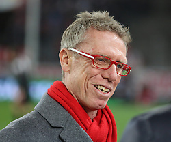 07.03.2014, Rhein- Energie Stadion, Koeln, GER, 2. FBL, 1. FC Koeln vs FC Energie Cottbus, 24. Runde, im Bild Trainer Peter Stoeger (1 FC Koeln) gut gelaunt am Lachen, Emotion, Freude, Glueck // during the 2nd German Bundesliga 24th round match between 1. FC Cologne and FC Energie Cottbus at the Rhein- Energie Stadion in Koeln, Germany on 2014/03/07. EXPA Pictures © 2014, PhotoCredit: EXPA/ Eibner-Pressefoto/ Schueler<br /> <br /> *****ATTENTION - OUT of GER*****