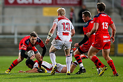 Bristol Rugby replacement Adrian Jarvis is challenged by Ulster Ravens Outside Centre Callum Patterson - Mandatory byline: Rogan Thomson/JMP - 13/11/2015 - RUGBY UNION - Kingspan Stadium - Belfast, Northern Ireland - Ulster Ravens v Bristol Rugby - The British & Irish Cup Pool 2.