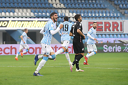 """Foto Filippo Rubin<br /> 24/10/2020 Ferrara (Italia)<br /> Sport Calcio<br /> Spal - Vicenza - Campionato di calcio Serie B 2020/2021 - Stadio """"Paolo Mazza""""<br /> Nella foto: ESULTANZA GOAL SPAL VALOTI MATTIA (SPAL)<br /> <br /> Photo Filippo Rubin<br /> October 24, 2020 Ferrara (Italy)<br /> Sport Soccer<br /> Spal vs Vicenza - Italian Football Championship League B 2020/2021 - """"Paolo Mazza"""" Stadium <br /> In the pic: CELEBRATION GOAL SPAL VALOTI MATTIA (SPAL)"""