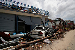 View of the damaged houses destroyed by Irma during the visit of France's President Emmanuel Macron in the French Caribbean islands of St. Martin, Tuesday, Sept. 12, 2017. Macron is in the French-Dutch island of St. Martin, where 10 people were killed on the French side and four on the Dutch. Photo by Christophe Ena/Pool/ABACAPRESS.COM