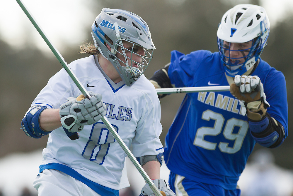 Colby College defenseman, Kenny Jacobson, during the first half of a NCAA Division III men's lacrosse game against at Hamilton College on March 8, 2014 in Waterville, ME. (Dustin Satloff/Colby Athletics)