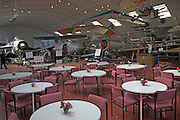 Suffolk Norfolk air museum cafe in hangar, Flixton, near Bungay, England Norfolk  Suffolk aviation museum Flixton Bungay England.