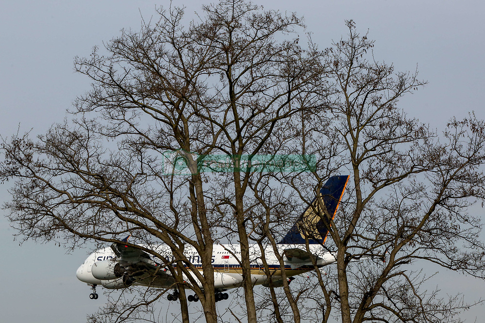 April 12, 2017 - The Airbus A380-800 widebody civil jet airplane of Singapore Airlines approaches Frankfurt/Main International Airport, Germany  (Credit Image: © Russian Look via ZUMA Wire)