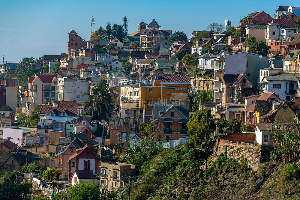 Buildings in Antananarivo (Madagascar) close to street Tsiombikibo.