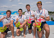 Poznan. Poland. GBR M4X, left to right, Peter LAMBERT, Sam TOWNSEND, Jack BEAUMONT and Graeme THOMAS. Finals day at the FISA 2015 European Rowing Championships. Venue Lake Malta. 31.05.2015. [Mandatory Credit: Peter Spurrier/Intersport-images] .   Empacher.