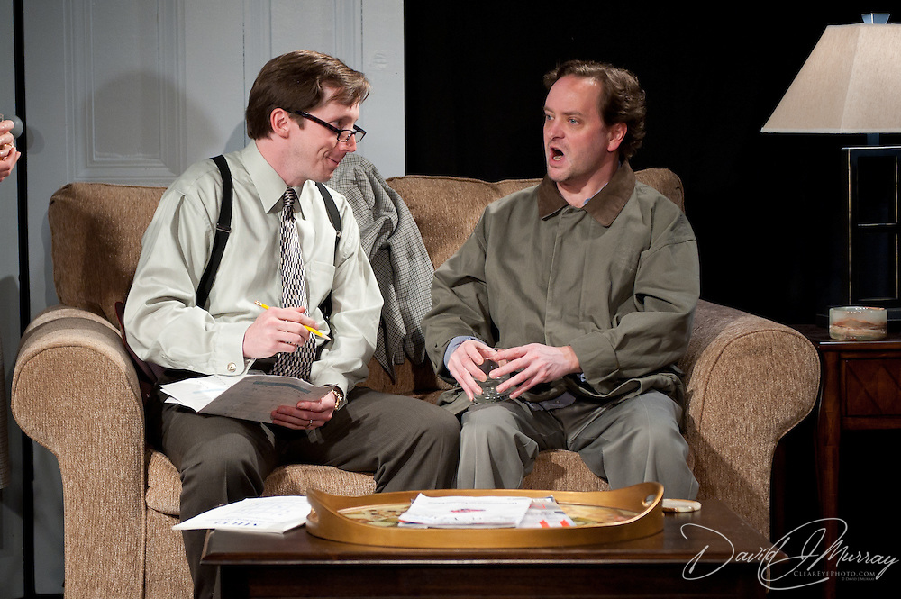 Chris Curtis (Beane) and Andrew Fling (Harry), in a scene from the Harbor Light Stage production of Love Song, a play by John Kolvebnbach, directed by Kent Stephens at The Music Hall Loft in Portsmouth, NH, May, 2011