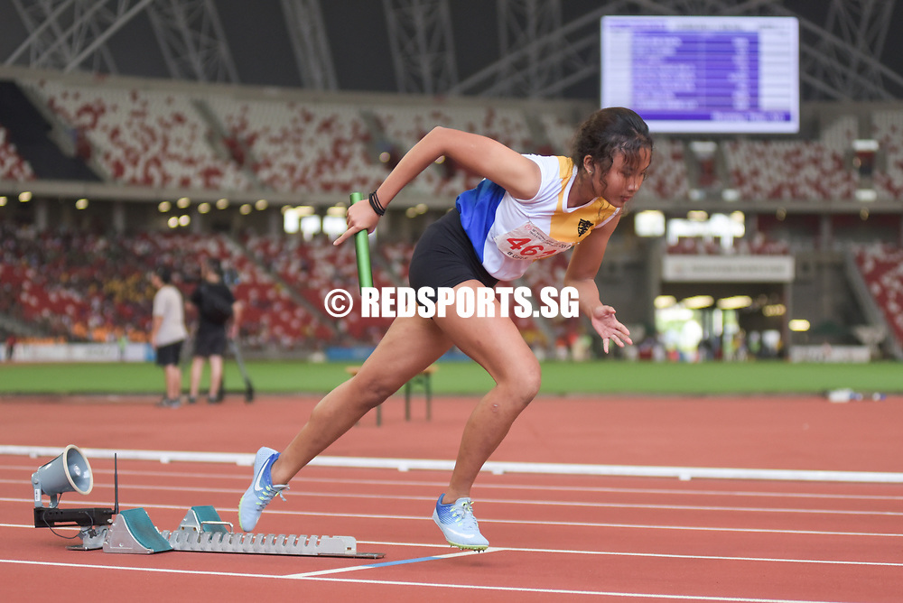 Singapore Sports School won gold in 4 minutes 16.96 seconds. Raffles Girls' School were second in 04:18.93 while CHIJ Secondary (Toa Payoh) were third in 04:19.36.