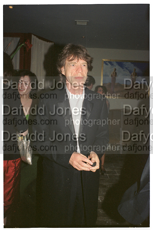 Mick Jagger. Miramax post Bafta's party. Noble Rot. 9 April 2000. © Copyright Photograph by Dafydd Jones 66 Stockwell Park Rd. London SW9 0DA Tel 020 7733 0108 www.dafjones.com