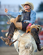 PRICE CHAMBERS / NEWS&GUIDE<br /> Saddel bronc rider Cache Hill scores 72 points on Nash at the Jackson Hole Rodeo on Wednesday night.