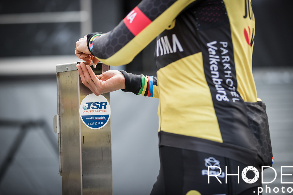 Marianne Vos (NED/Jumbo Visma) pre race hands desinfection  <br /> <br /> 24th la Flèche Wallonne Féminin 2021 (1.UWT)<br /> 1 Day Race: Huy – Huy 130,5km<br /> <br /> ©RhodePhoto