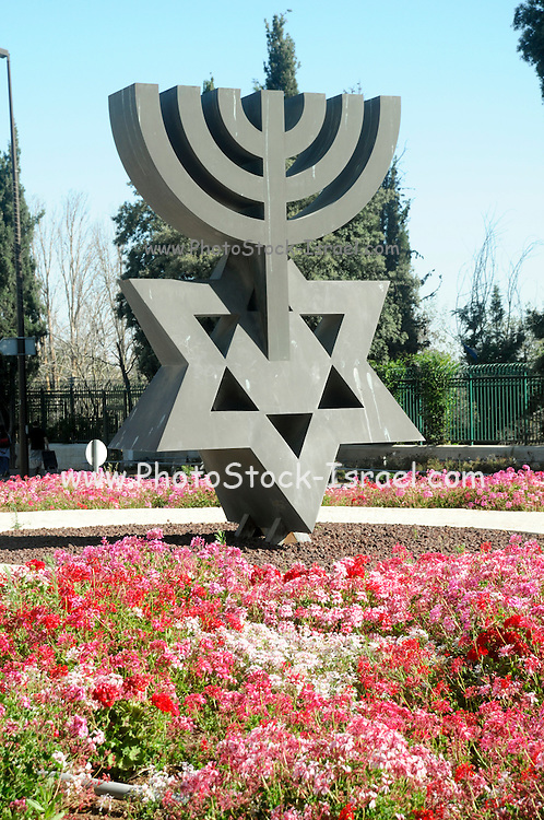 David's Menorah sculpture (by David Soussanna) situated in front of the Knesset in Jerusalem, Israel