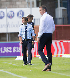 Dundee's manager Neil McCann at the end. Dundee 1 v 2 Ross County, Scottish Premiership game played 5/8/2017 at Dundee's home ground Dens Park.
