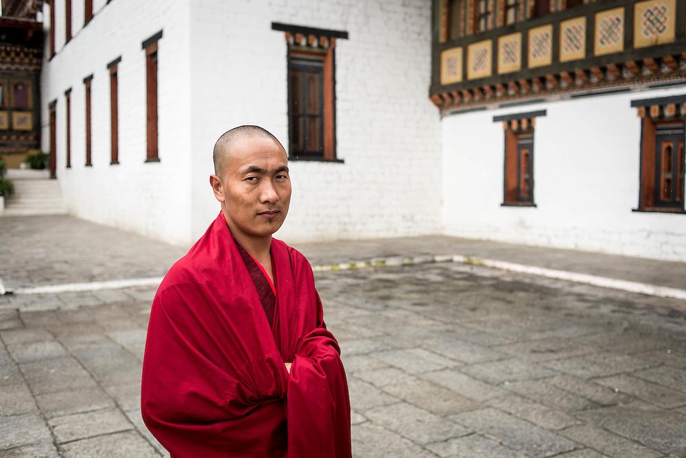 Monk at Thimpu Dzong (monestary)<br /> <br /> Full photoessay at http://xpatmatt.com/photos/bhutan-photos/