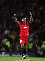 Photo: Paul Thomas.<br /> Espanyol v Sevilla. UEFA Cup Final. 16/05/2007.<br /> <br /> Frederic Kanoute of Sevilla celebrates his goal as he comes back to half way.