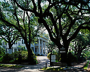 Stanton Hall, built in 1857 for cotton magnate, Frederick Stanton by architect-buider, Thomas Rose, with Greek Revival architecture and Victorian ornamentation, Natchez, Mississippi.  Staton Hall is a National Historic Landmark owned by the Pilgrimage Garden Club.