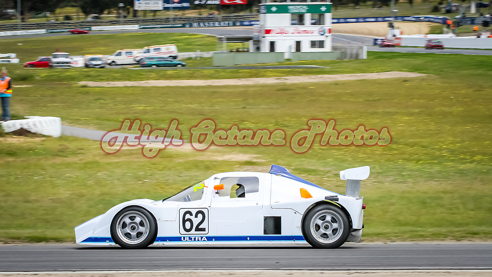 Peter McKenzie (Ultra Sports) mid way thought Turn 1 (CAT Corner) of Barbagallo Raceway in Wanneroo during the 2005 WASCC State Championships.  In the background is the old infield control tower and medical centre, now long gone and replaced by a new set of infield garages with a roof top viewing area.