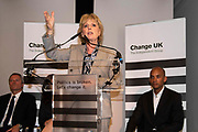 Change UK MP Anna Soubry speaks during a Peoples Vote Remain rally for the European elections by newly formed political party Change UK in London on 30th April, 2019 in London, England, United Kingdom. Change UK - The Independent Group, was formed in February 2019 by breakaway members of Parliaments from Conservative and Labour parties. The group are pro European Union and are calling for a peoples vote on Britainss exit from the union.