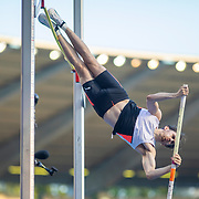 BRUSSELS, BELGIUM:  September 3:   Harry Coppell of Great Britain in action during the pole vault competition at the Wanda Diamond League 2021 Memorial Van Damme Athletics competition at King Baudouin Stadium on September 3, 2021 in  Brussels, Belgium. (Photo by Tim Clayton/Corbis via Getty Images)