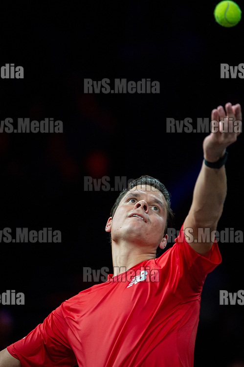 GENEVA, SWITZERLAND - SEPTEMBER 22: Milos Raonic of Team World serves during Day 3 of the Laver Cup 2019 at Palexpo on September 20, 2019 in Geneva, Switzerland. The Laver Cup will see six players from the rest of the World competing against their counterparts from Europe. Team World is captained by John McEnroe and Team Europe is captained by Bjorn Borg. The tournament runs from September 20-22. (Photo by Robert Hradil/RvS.Media)