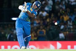 © Licensed to London News Pictures. 04/10/2012. Sri Lankan Thisara Perera batting during the World T20 Cricket Mens Semi Final match between Sri Lanka Vs Pakistan at the R Premadasa International Cricket Stadium, Colombo. Photo credit : Asanka Brendon Ratnayake/LNP