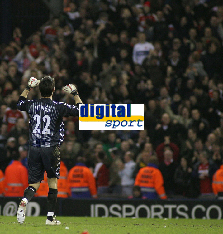 Photo: Mark Stephenson.<br /> West Bromwich Albion v Middlesbrough. The FA Cup. 27/02/2007.Middlesbrough goal keeper  Brad Jones celebrates with the fan's after there win over West Brom