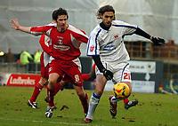 Photo: Ed Godden.<br />Leyton Orient v Carlisle United. Coca Cola League 2. 11/02/2006. <br />Leyton Orient's Craig Easton (L) and Zigor Aranalde.