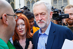 © London News Pictures. FILE PICTURE 12/09/2015 Jeremy Corbyn attending a pro-refugee march in London with Carmel Nolan (left red hair). Former Stop The War Coalition press officer CARMEL NOLAN has joined Jeremy Corbyn's team as a media advisor. Photo credit: Tolga Akmen/LNP