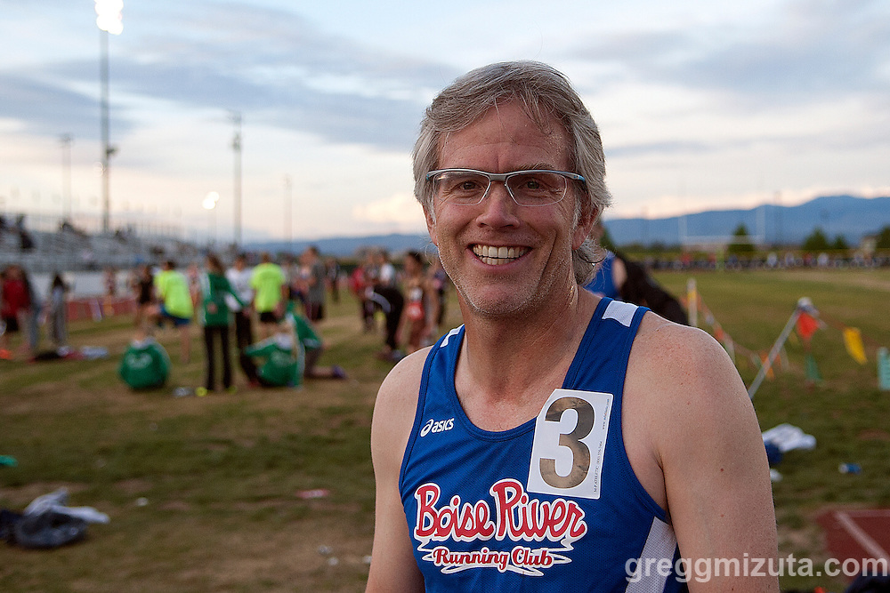 Boise River Running Club's Sid Sullivan following the Master's 1500 meter run at the YMCA Track & Field Invitational at Mountain View High School, Meridian, Idaho. April 24, 2015. Sullivan's time was 4:57.49